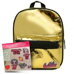 "LOL SURPRISE 10"" METALLIC GOLD BACKPACK W/STICKERS"